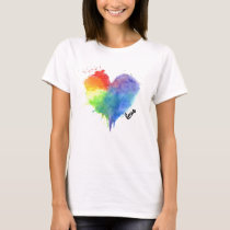 Rainbow Splatter Heart Logo love t shirt