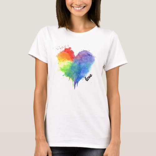 Rainbow Splatter Heart Logo love t shirt