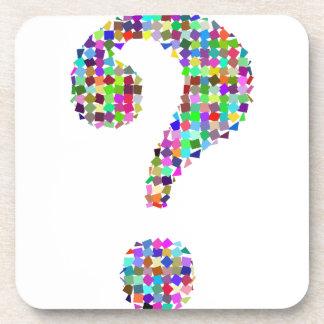 Rainbow Splatter Question Mark Beverage Coaster
