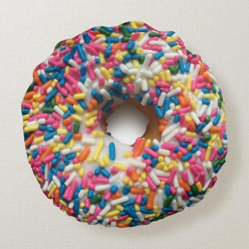 Rainbow Sprinkle Donut Pillow Round Pillow