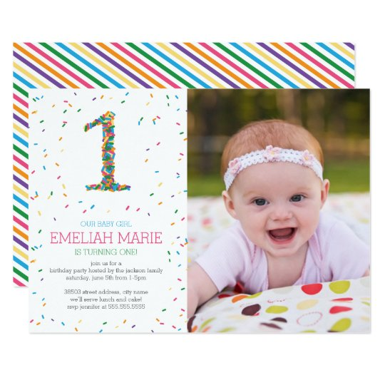 Rainbow sprinkles 1st birthday party invite zazzle rainbow sprinkles 1st birthday party invite filmwisefo