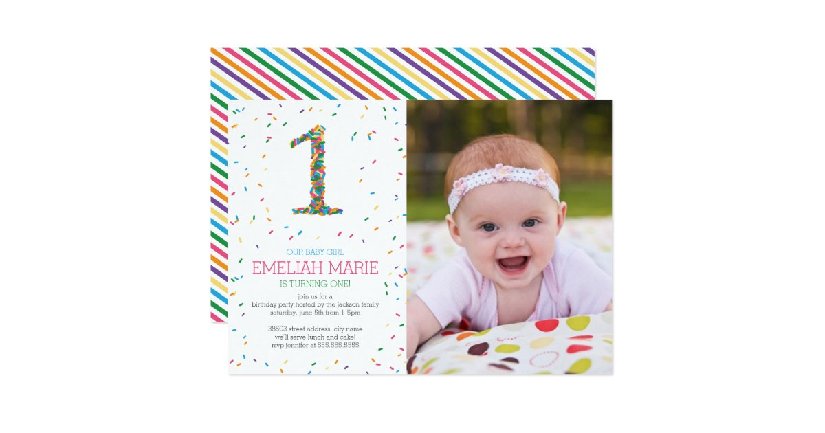 1st Birthday Invitations Announcements – Baby Girl First Birthday Party Invitations