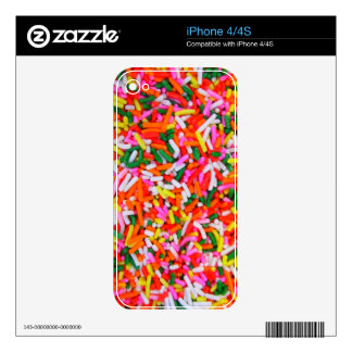 Rainbow Sprinkles Candy Pattern iPhone 4S Decals
