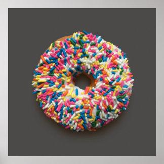 Rainbow Sprinkles Donut poster (on gray)