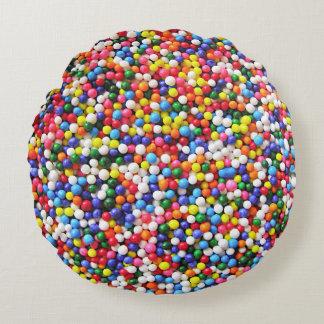 Rainbow sprinkles round pillow