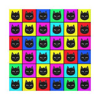 Rainbow Square Cat Pattern Canvas Print