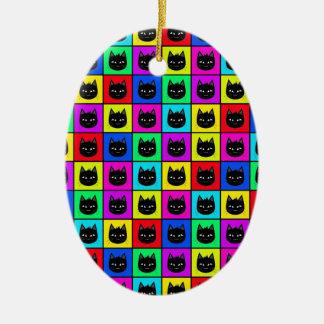 Rainbow Square Cat Pattern Ceramic Ornament