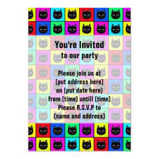 "Rainbow Square Cat Pattern 5"" X 7"" Invitation Card"