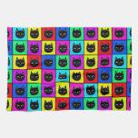 Rainbow Square Cat Pattern Towel