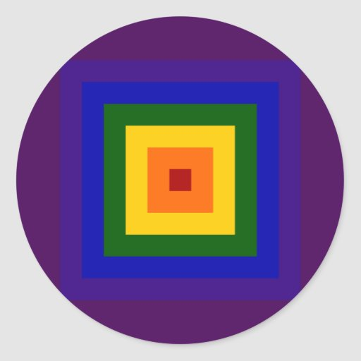 Rainbow Square Classic Round Sticker