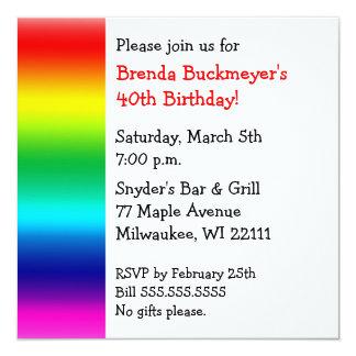 """Rainbow Square Invitation 5.25"""" Square Invitation Card"""