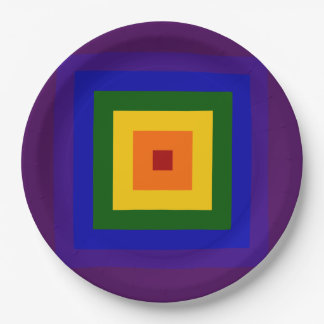 Rainbow Square Party Plates 9 Inch Paper Plate