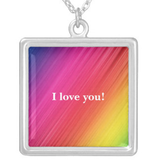Rainbow Square Pendant Necklace