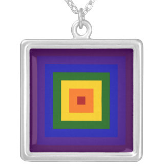 Rainbow Square Silver Plated Necklace