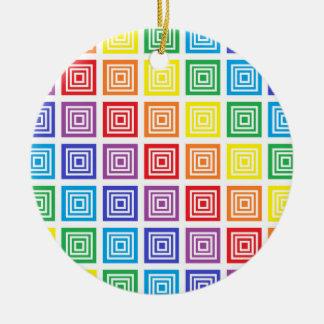 Rainbow Squared Ceramic Ornament