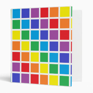 Rainbow Squares 3 Ring Binder