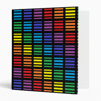 Rainbow Squares and Stripes Black Binder