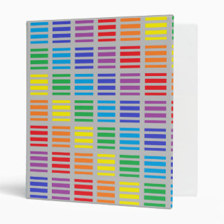 Rainbow Squares and Stripes Silver 3 Ring Binder