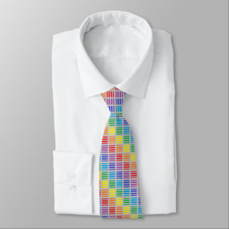 Rainbow Squares and Stripes Silver Neck Tie