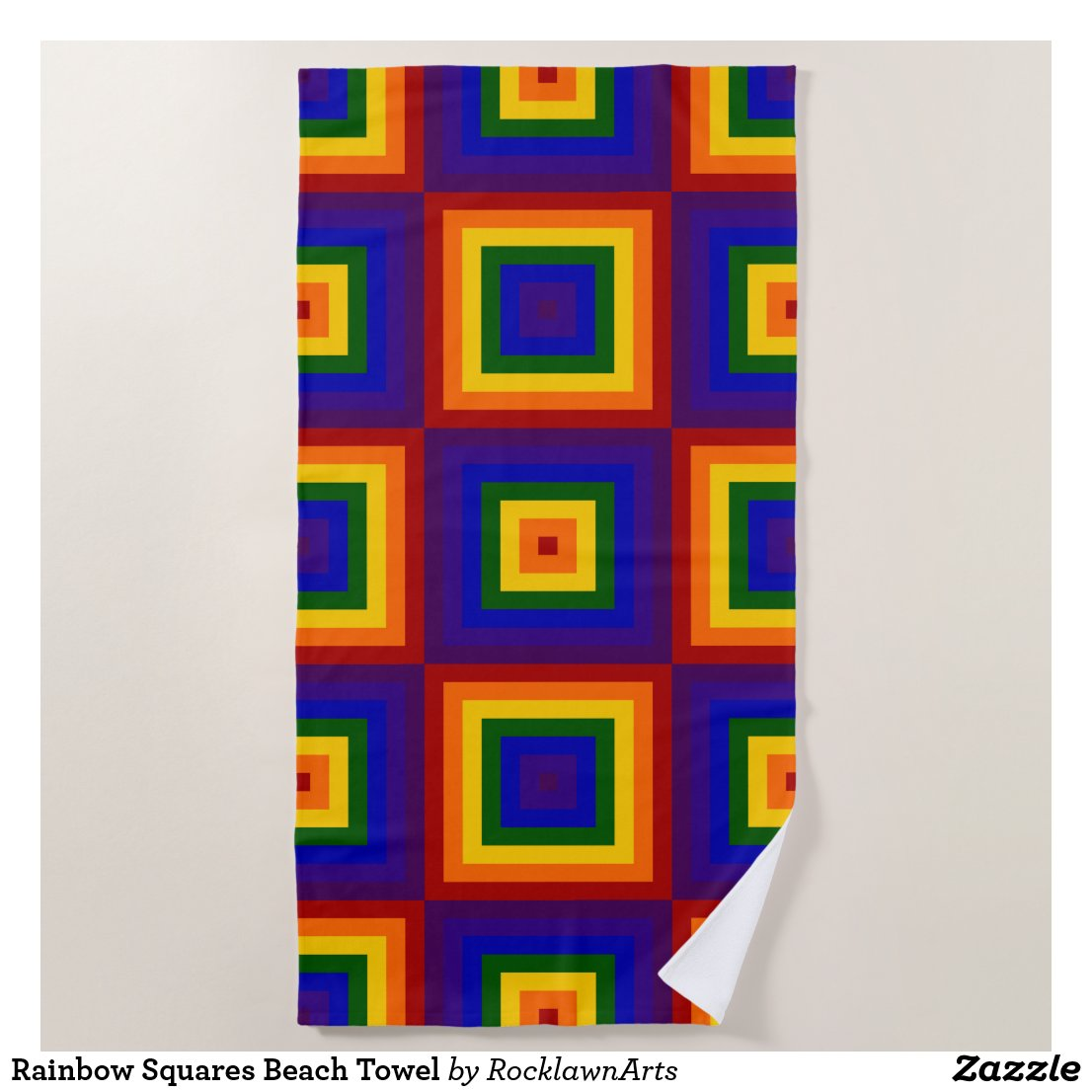 Rainbow Squares Beach Towel