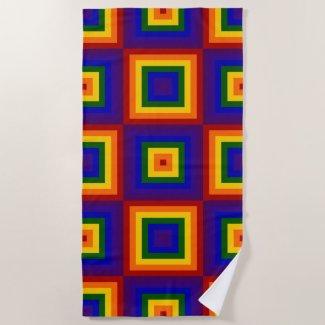 Rainbow Squares Beach Towel