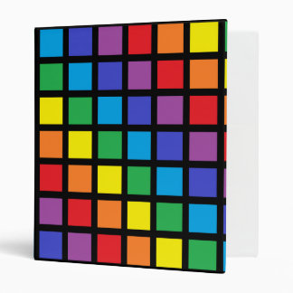 Rainbow Squares Black 3 Ring Binder