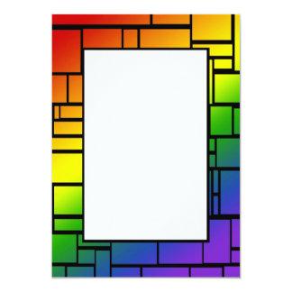 Rainbow Squares Border Invitation
