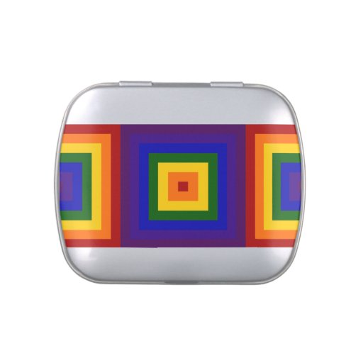 Rainbow Squares Candy Tins