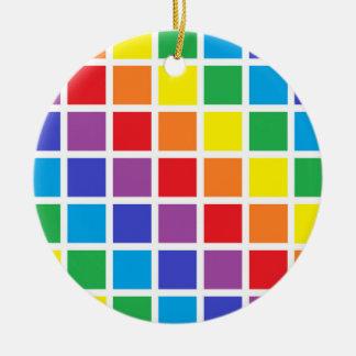 Rainbow Squares Ceramic Ornament