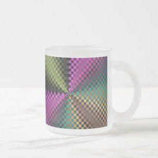 Rainbow Squares Frosted Glass Coffee Mug