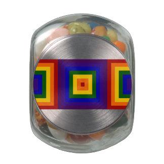 Rainbow Squares Glass Candy Jars
