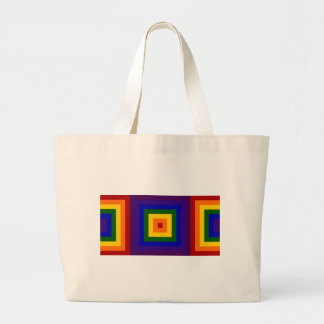 Rainbow Squares Large Tote Bag