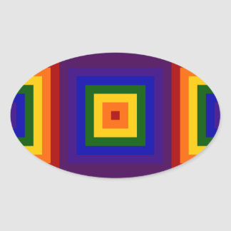 Rainbow Squares Oval Sticker
