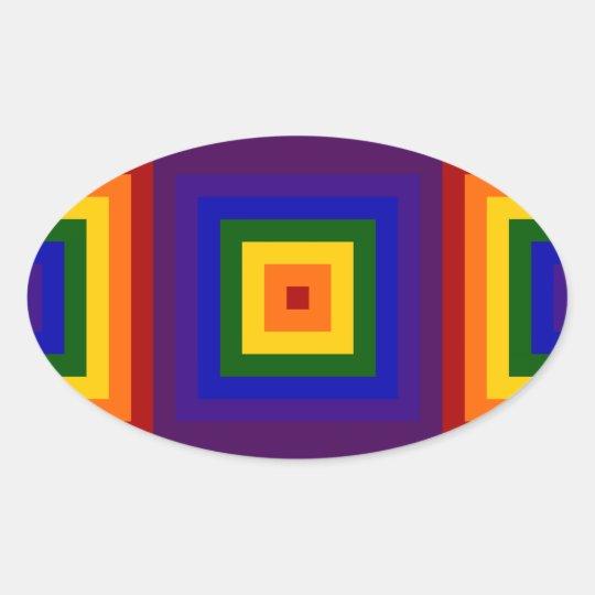 Rainbow Squares Oval Sticker