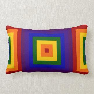 Rainbow Squares Throw Pillows