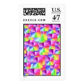 Rainbow Squares Postage