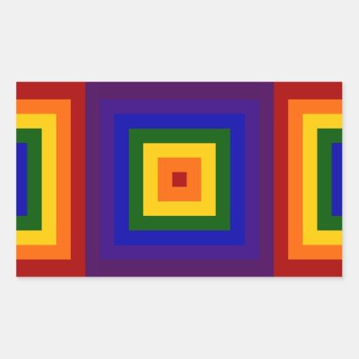 Rainbow Squares Rectangular Sticker