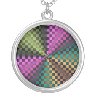 Rainbow Squares Silver Plated Necklace