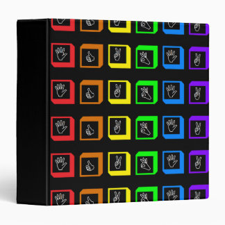 Rainbow Squares with Hands Design Binder