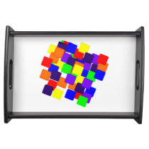 Rainbow Squares Wood Serving Tray