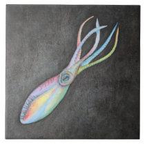 Rainbow Squid Ceramic Tile