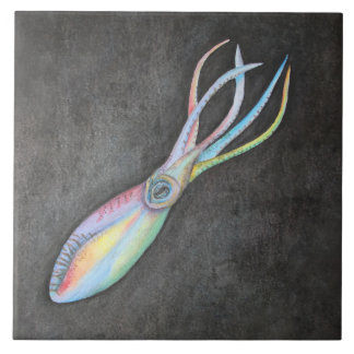 Rainbow Squid Ceramic Tile