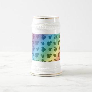 Rainbow squirrel pattern 18 oz beer stein
