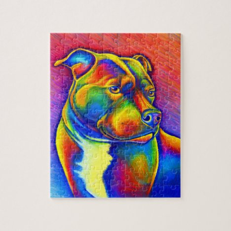 Rainbow Staffordshire Bull Terrier Dog Puzzle