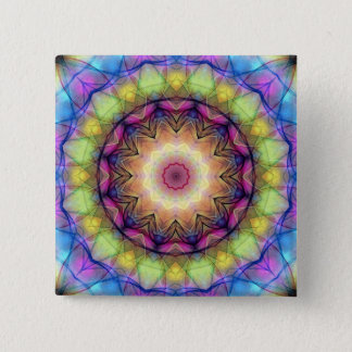 Rainbow stained Glass Button