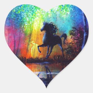 Rainbow Stallion Heart Sticker