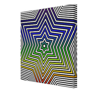 Rainbow Star Blue Red Yellow Green Canvas Graphic Canvas Print