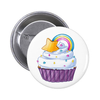 Rainbow star cupcake in the clouds button