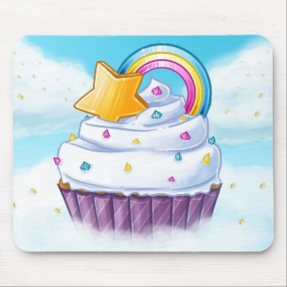 Rainbow star cupcake in the clouds mousepad