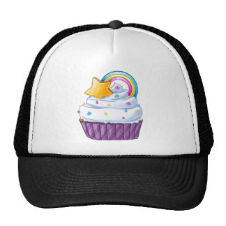 Rainbow star cupcake in the clouds trucker hat